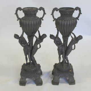 Pair Of Antique Cast Metal Figural Planters.