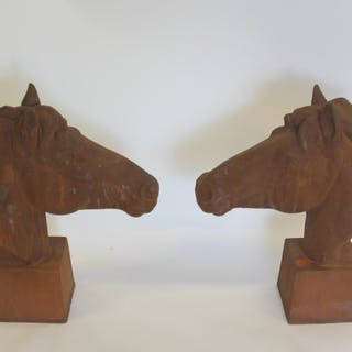 Pair Of Iron Horse Heads.