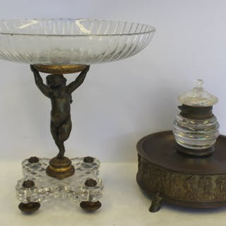 BACCARAT Quality Cut Glass & Bronze Figural