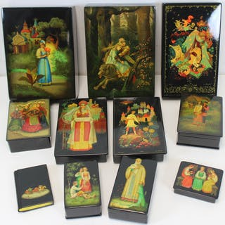 11 Vintage Russian Lacquered Boxes.