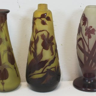 GALLE. 3 Signed Cameo Glass Cabinet Vases.