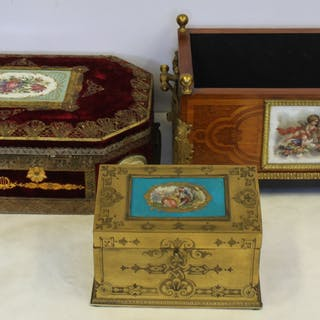 3 Antique Porcelain Mounted Boxes.