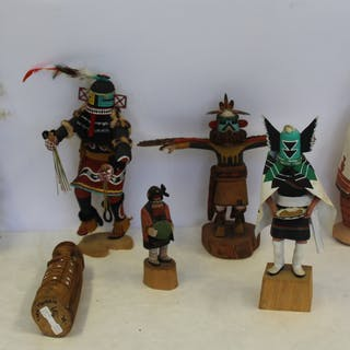 Grouping Of 7 Signed Kachina Dolls