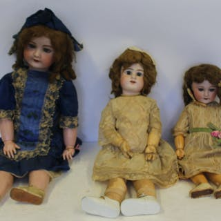 3 Antique Bisque Head Dolls Inc Jumeau