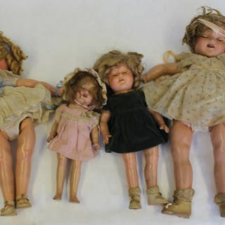 SHIRLEY TEMPLE. Lot Of 4 Antique Dolls.