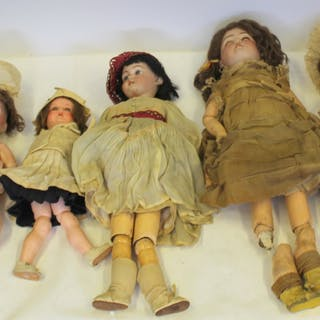 6 Antique Bisque Head German Dolls.