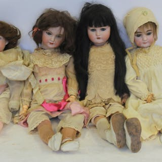 4 Antique German Bisque Head Dolls