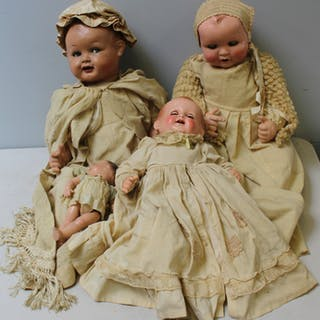 4 Antique Dolls In Original Clothes