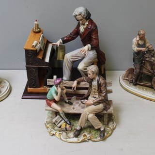 Capodimonte Porcelain Figurine Grouping of Three