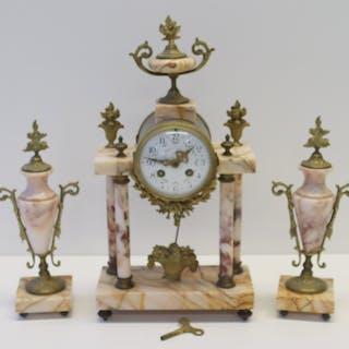 Antique Bronze And Marble Clock Garniture Set.