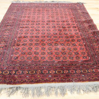 Vintage And Finely Hand Woven Bokhara Carpet.