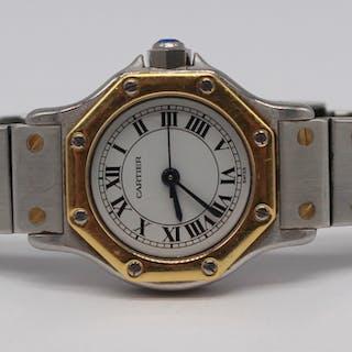 JEWELRY. Ladies Cartier Santos Wrist Watch.