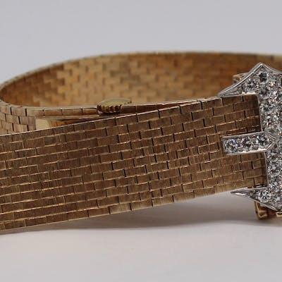 JEWELRY. J.E. Caldwell 14kt Gold and Diamond Watch