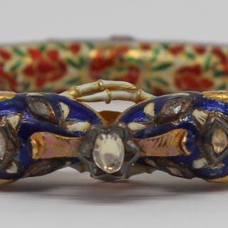 JEWELRY. Indian Mughal Diamond and Enamel Bracelet