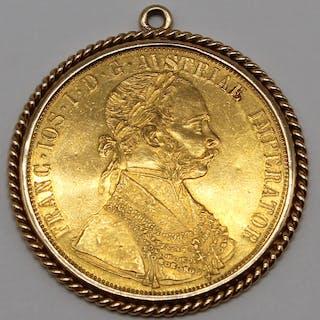 JEWELRY. 1915 Austrian 4 Ducat Coin Pendant.