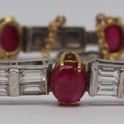 JEWELRY. Platinum, Ruby and Diamond Bracelet.