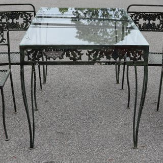 Steel Outdoor Glass Top Table with 4 Chairs