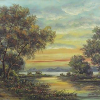 F.R.Nolan Signed Oil On Canvas River Landscape.