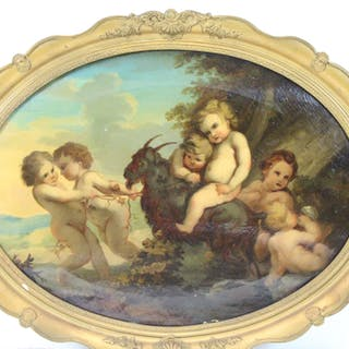 """UNSIGNED. Oil On Canvas """"Putto With Goat""""."""