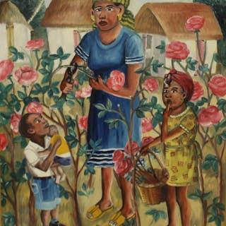 "Wilson Bigaud. Signed Oil On Board ""Flower Garden"""