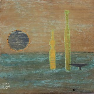LAVEGA??. Abstract Signed Oil On Panel.