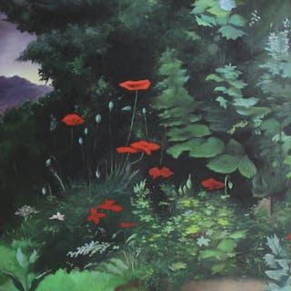 UNSIGNED. Oil on Board Flower Garden.