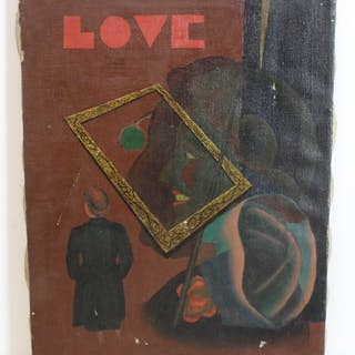 "KALIX, Robert?. Signed Oil On Canvas ""Love"""