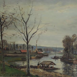 LEVI, M. Oil On Board River Scene.