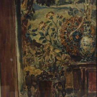 W.S. Monogrammed Watercolor Still Life.