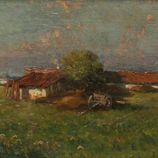 ILLEGIABLY. Signed Oil On Board Farm Scene .