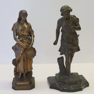 Moreau & Marioton Signed Bronze Sculptures .