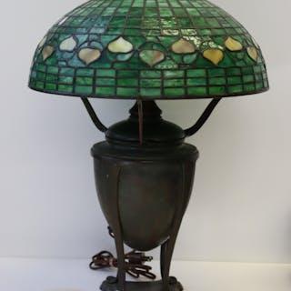 Tiffany Studios Bronze Table Lamp With Acorn Shade