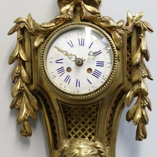 Antique French Bronze Cartel Clock With