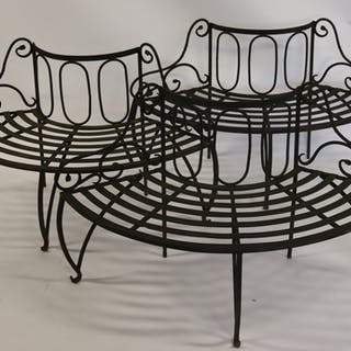 Lot Of 3 Antique Wrought Iron Benches.