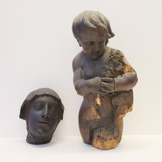 Antique Continental Carved Wood Putti Together