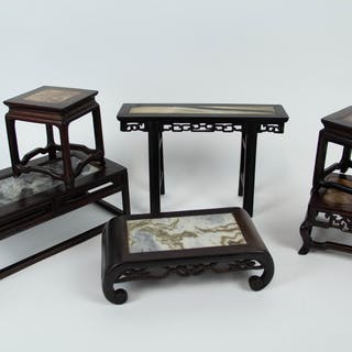 Group of Marble Inset Miniature Stands.