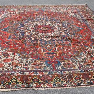 Large Antique And Finely Hand Woven Heriz Style