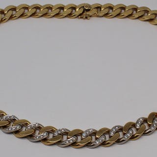 JEWELRY. Bi-Color 18kt Gold and Diamond Chain.