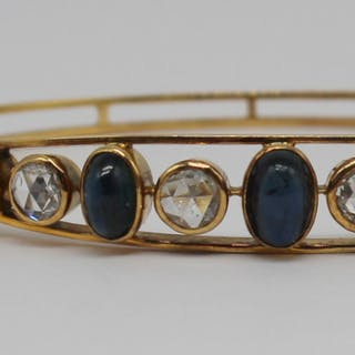 JEWELRY. Antique Rose Cut Diamond and Sapphire