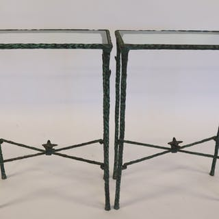 Pair Of Giacometti Style Patinated Iron Tables