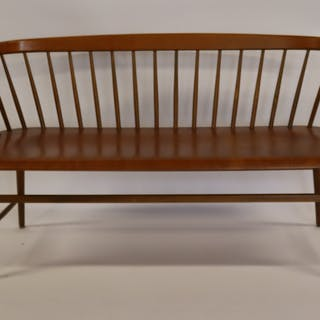 Midcentury Spindle Back Settee With Laminate Seat