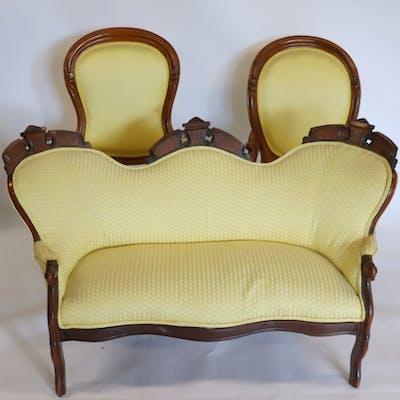 Victorian Walnut Eastlake Style Settee Together