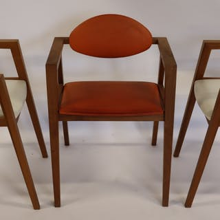 3 Midcentury Style Arm Chairs .