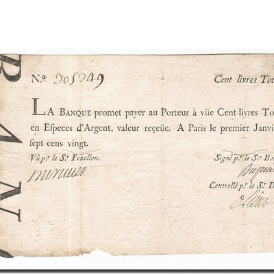 Banknote, France, 100 Livres, 1720, 1720-01-01, VF(20-25), KM:A17b, Lafaurie:90