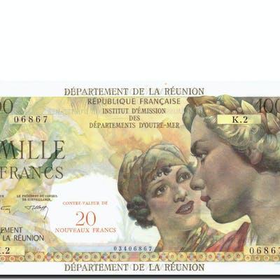 Banknote, Réunion, 20 Nouveaux Francs on 1000 Francs, Undated (1967-71)