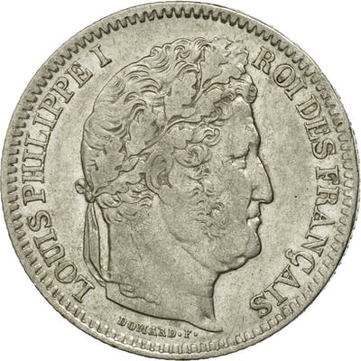 Coin, France, Louis-Philippe, 2 Francs, 1844, Strasbourg, AU(50-53), Silver