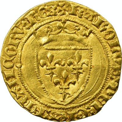 Coin, France, Charles VII, 1/2 ECU D'or, Paris, AU(50-53), Gold, Duplessy 513