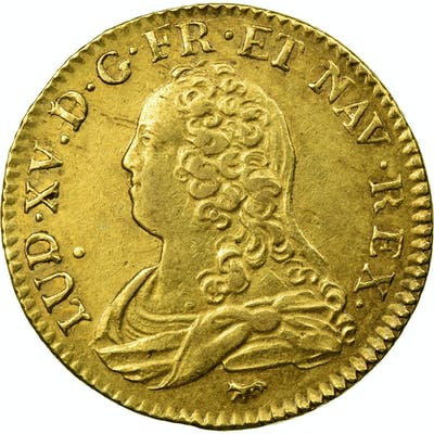 Coin, France, Louis XV, Louis d'or aux lunettes, 1728, Paris, KM 489.1