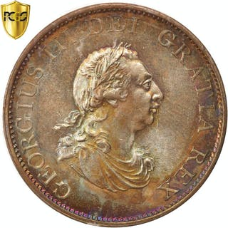 Coin, Great Britain, George III, 1/2 Penny, 1799, PCGS, MS66BN, MS(65-70)