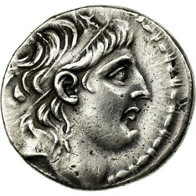Coin, Antiochos VII, Tetradrachm, 138-129 AV JC, Antioch, AU(50-53), Silver, SNG